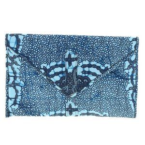 Blue Patterned Cloth Envelope Style Clutch